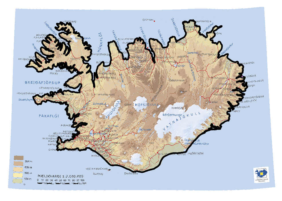 This is a pretty simple DEM map of Iceland from the National Land Survey of Iceland with the coastline layer (Skalanes layers are there as well however they are too small to see).