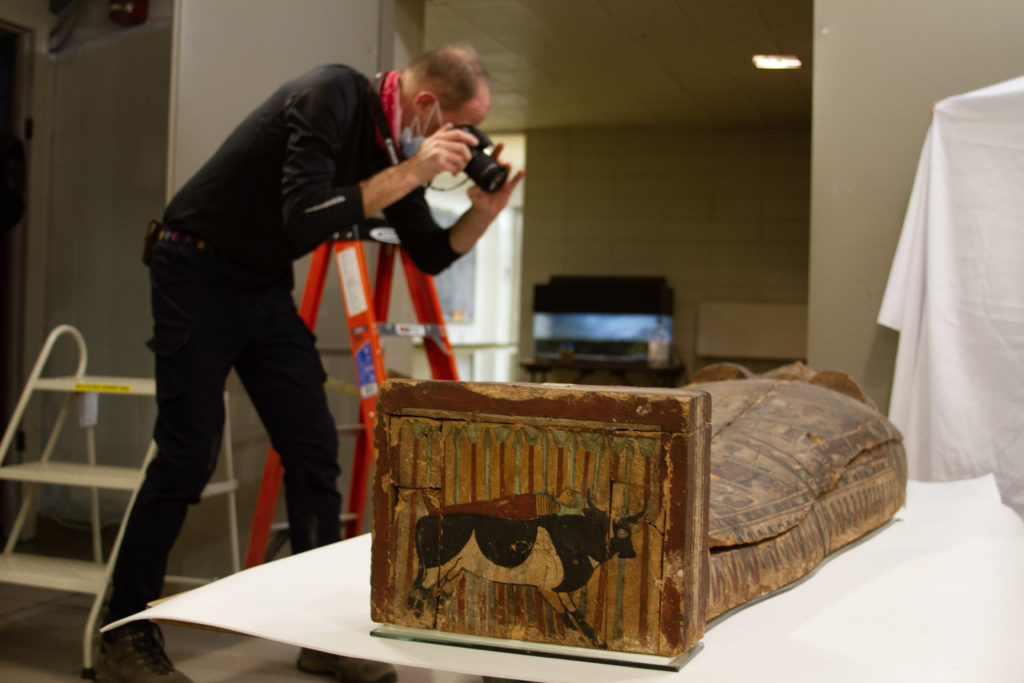 Charlie taking photo of the Egyptian sarcoph