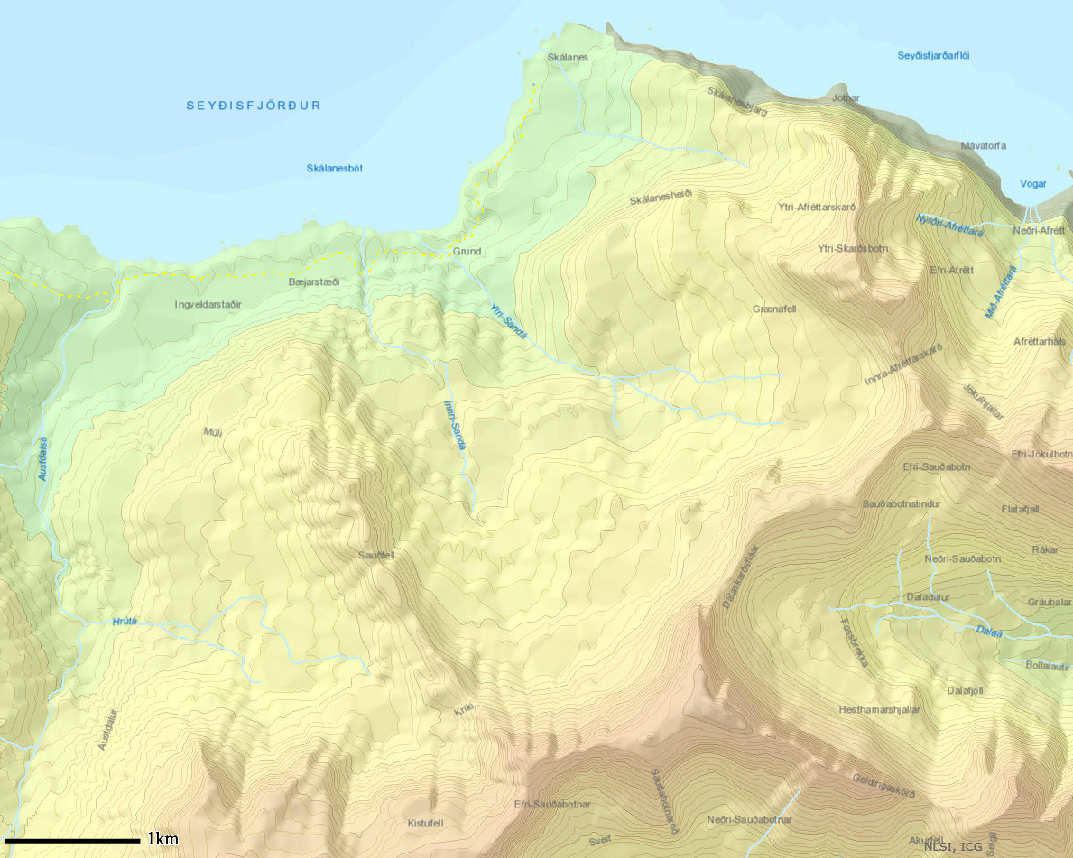 Land Survey of Iceland topo map of Skalanes with scale.